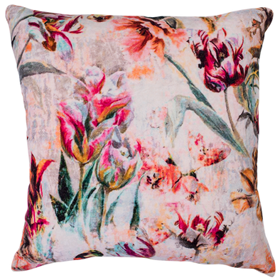 vintage floral bouquet velvet cushion