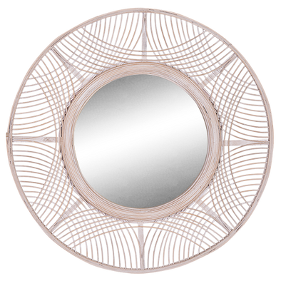 white wash rattan mirror boho decor