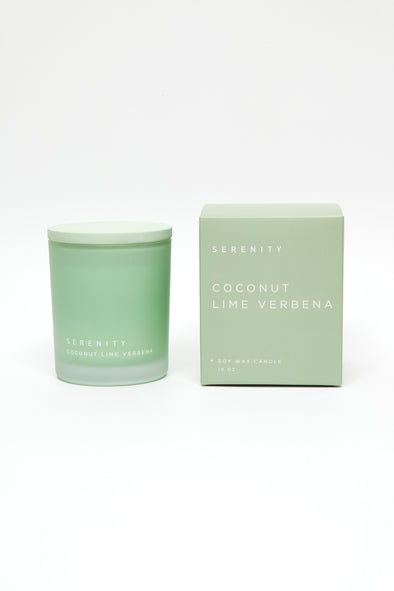 coconut lime verbena scented soy candle in glass jar