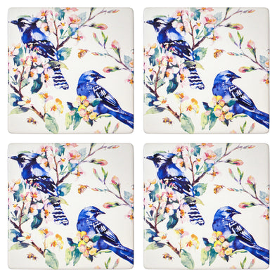 set of 4 ceramic coasters with kingfisher bird