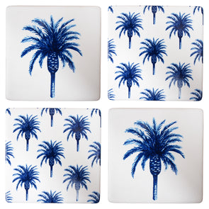 Blue and white set 4 date palm coasters