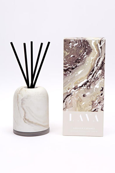 vanilla caramel reed diffuser with ceramic cover