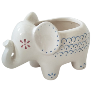 ceramic elephant planter with morroccan detail