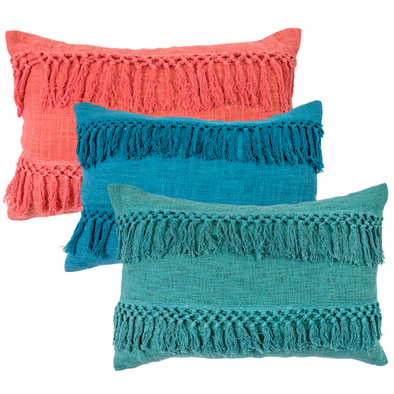 cotton macrame tassel cushion