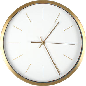 Oslo metallic clock with black or white face and brushed gold finish
