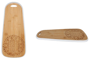 mandala printed bamboo serving board in 2 shapes