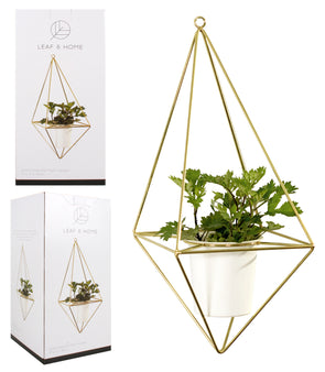 metal geometric hanging plant pot, in black or gold