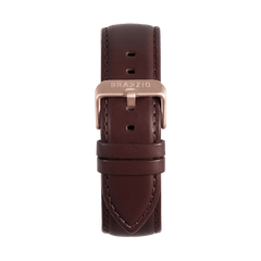 Coffee Leather with Rose 22MM