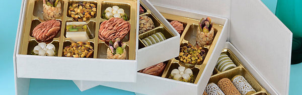 Gift Box contains an assortment of Tunisian sweets with a modern twist