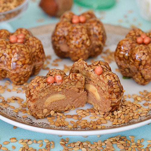 Crunchy sesame shell with silky chocolate