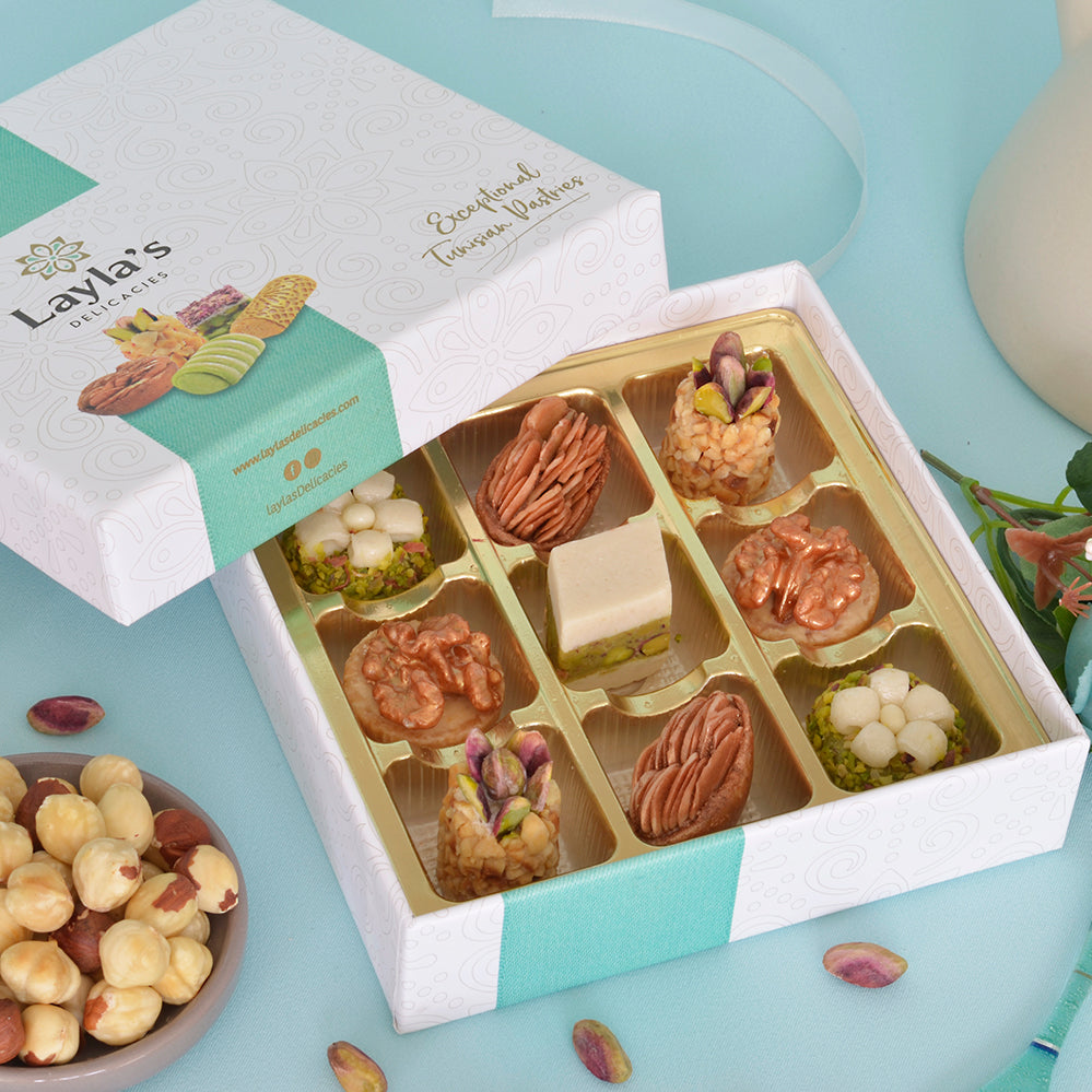 gift box for sending Tunisian sweets and treats to loved ones to celebrate Eid Al Fitr