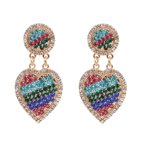 Heart-shaped Glittered Crystal Earrings