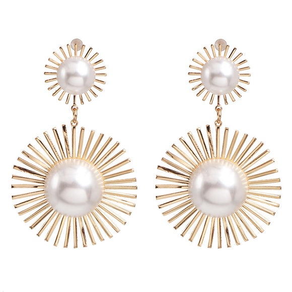 Pearl Disc Dangle Earrings
