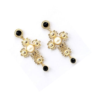 Goldtone Cross Earrings
