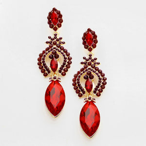 Marquise Shaped Evening Earrings