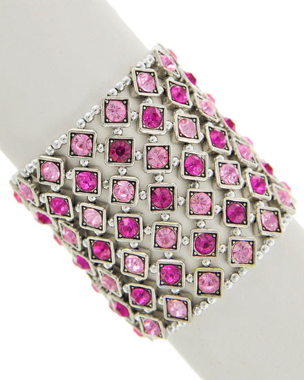 Pink and Silver Stretch Bracelet