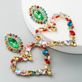Jeweled Heart-Shaped Earrings