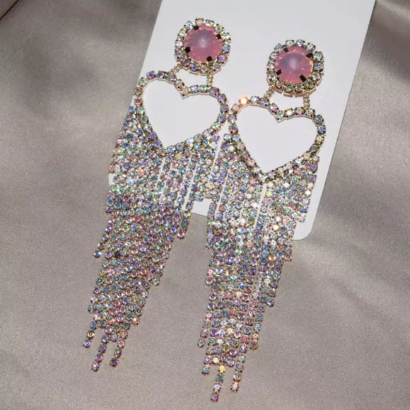 Heart Fringe Earrings