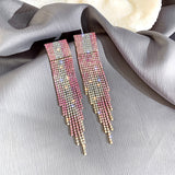 Pink and Green Rhinestone Long Drop Earrings