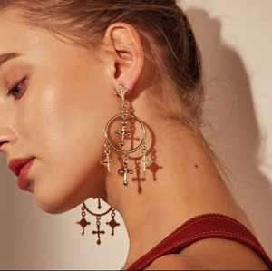 Chandelier Cross Earrings
