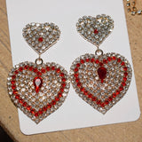 New Design Shiny Crystal Rhinestone Heart Pendant Dangle Earrings For Women Jewelry Fashion Statement Earrings Accessories