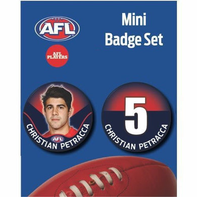 Mini Player Badge Set - Melbourne Demons - Christian Petracca