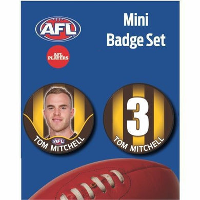 Mini Player Badge Set - Hawthorn Hawks - Tom Mitchell