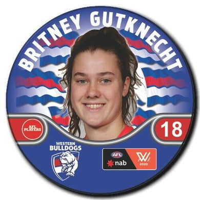 2020 AFLW Western Bulldogs Player Badge - GUTKNECHT, Britney