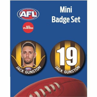 Mini Player Badge Set - Hawthorn Hawks - Jack Gunston