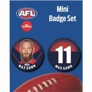 Mini Player Badge Set - Melbourne Demons - Max Gawn
