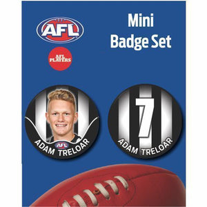 Mini Player Badge Set - Collingwood Magpies - Adam Treloar