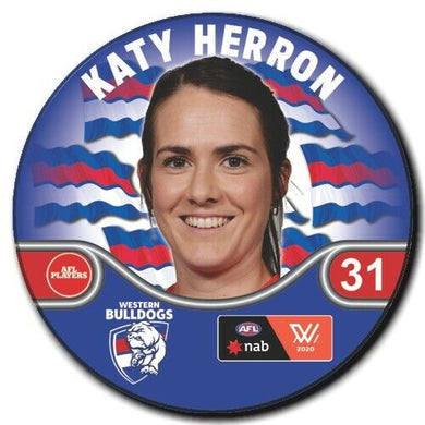 2020 AFLW Western Bulldogs Player Badge - HERRON, Katy