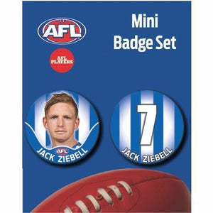 Mini Player Badge Set - North Melbourne Kangaroos  - Jack Ziebell