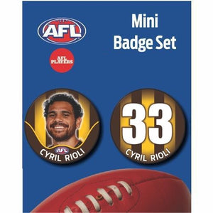 Mini Player Badge Set - Hawthorn Hawks - Cyril Rioli