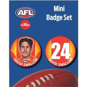Mini Player Badge Set - Gold Coast Suns - David Swallow