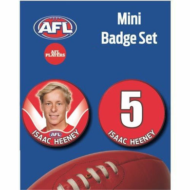 Mini Player Badge Set - Sydney Swans - Isaac Heeney
