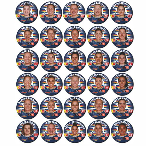 COLLECTORS FULL SET OF 30 ADELAIDE AFLW PLAYER BADGES