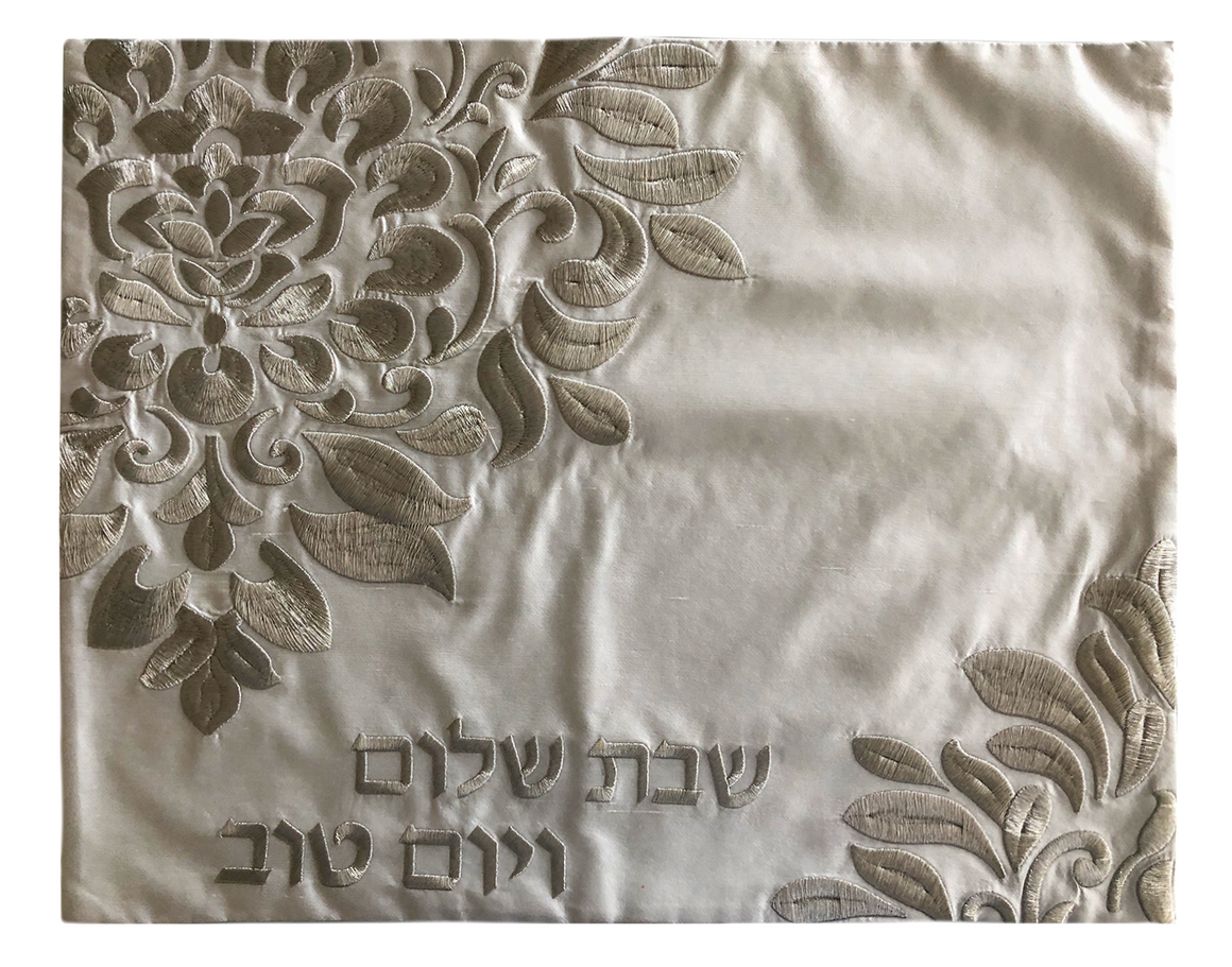 Challah Cover Damask Light