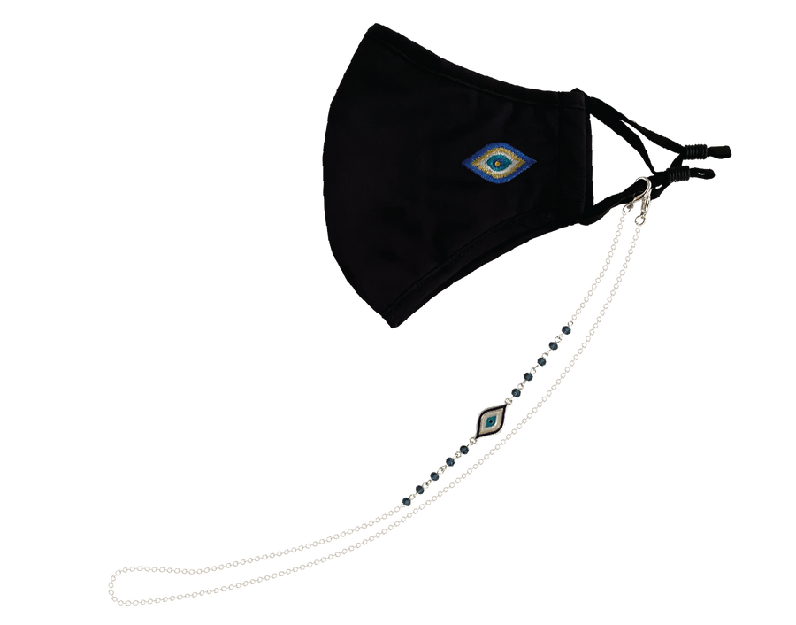 Evil Eye Mask Black & Mask Chain