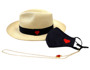 Heart Panama Hat, Mask & Mask Chain