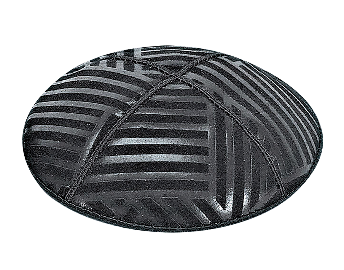 Suede Embossed Angles Striped Kippot