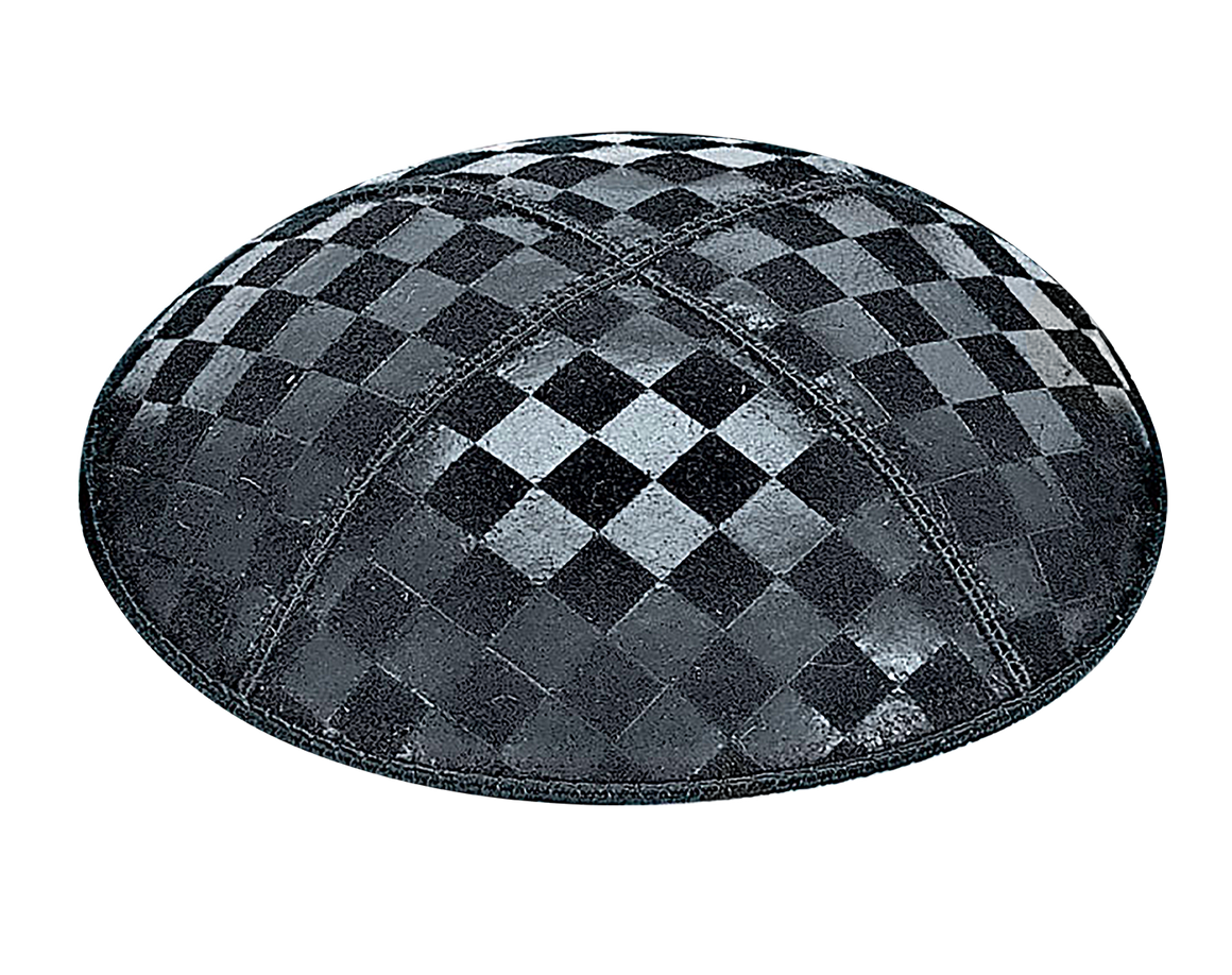 Suede Embossed Checkboard Kippot