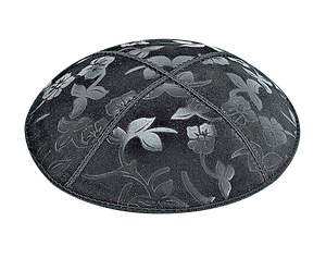 Suede Embossed Flowers 2 Kippot