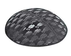 Suede Embossed L'Chaim Kippot