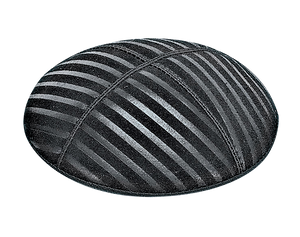 Suede Embossed Lines Wide Kippot