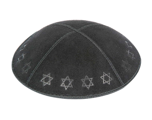 Suede Embossed Maguen David Border Kippot