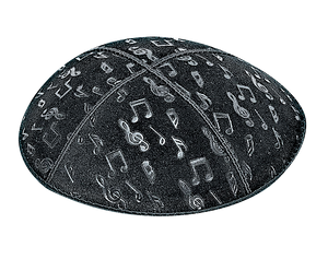 Suede Embossed Musical Notes Kippot