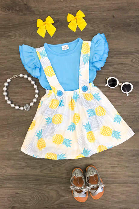 Blue Pineapple Suspender Skirt Set