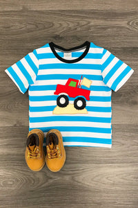 BLUE STRIPE MONSTER TRUCK T-SHIRT