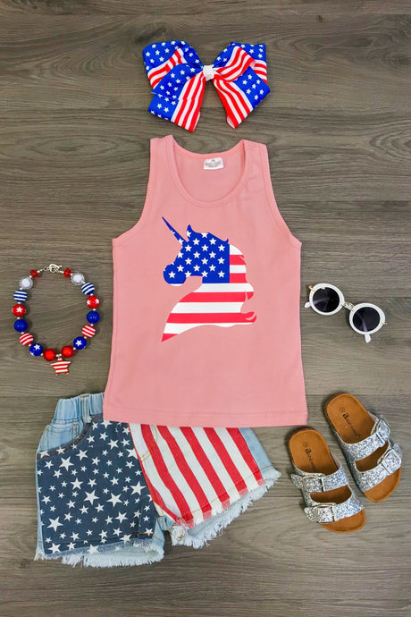 Blush Pink Patriotic Unicorn Tank